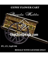 Gypsy Flower Wagon Cart PNG Transparent Commercial Use Clip Art - $3.49