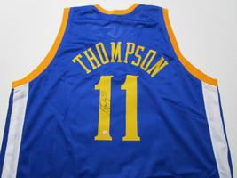 KLAY THOMPSON / AUTOGRAPHED GOLDEN STATE WARRIORS BLUE CUSTOM JERSEY / COA image 1