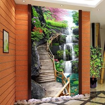 "3D Wallpaper ""Waterfall and Wood Bridge"" - $35.00+"