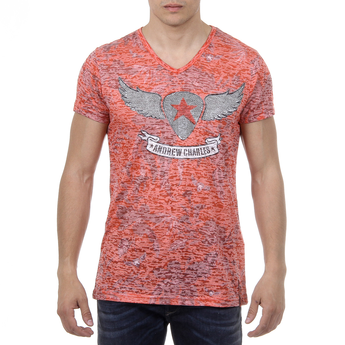 Primary image for Andrew Charles Mens T-Shirt Short Sleeves V-Neck Red ISAAC