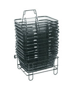 """Black or Silver - Mesh Shopping Basket Stand 16.5""""W x 12.5""""D x 8""""H - $24.90"""
