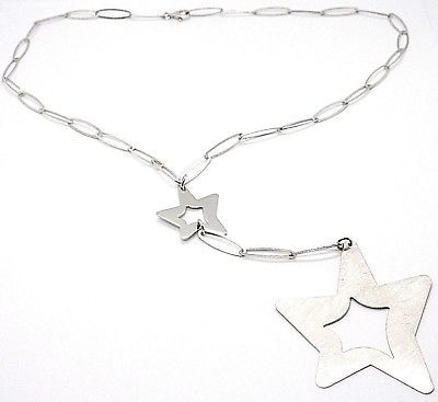925 Silver Necklace, Oval Chain, Double Star Pendant worked, Satin