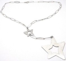 925 Silver Necklace, Oval Chain, Double Star Pendant worked, Satin image 1