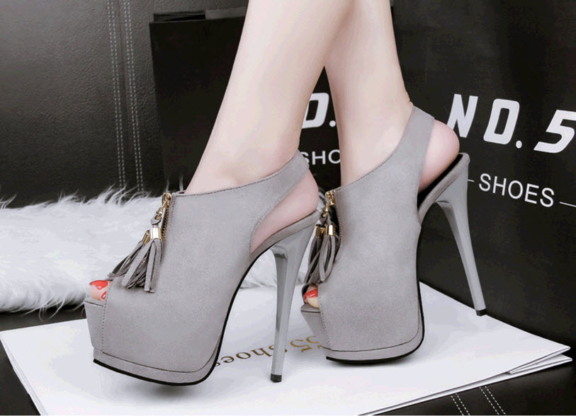 Primary image for ps351 Cutie slingbacks sandals w fringe, high heels,US Size 4-8.5, light gray