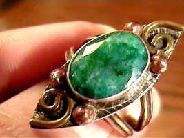 Natural Colombian emerald 925 STERLING Silver Ring 7 elegant OVAL indian... - £31.86 GBP