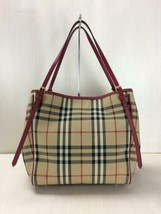 BURBERRY Tote Bag Camel Color Canvas Material Check Pattern Used - $756.99