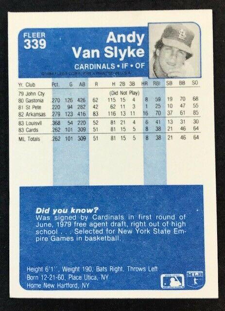 1984 Fleer #339 Andy Van Slyke RC , Cardinals, Pirates image 2