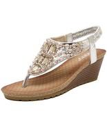 Zicac Women's Rhinestone Wedge Sandals Thong Platform Beaded Slingback B... - $25.94