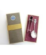 Vintage Justinus Solingen Rose Sugar Spoon and Tongs Silverplate 90 Hild... - $39.99