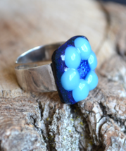 sterling silver ring, flower ring, sterling silver, Murano glass ring, R236 - $44.99