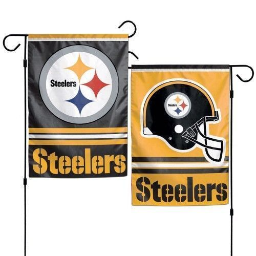 "PITTSBURGH STEELERS TEAM GARDEN WALL FLAG BANNER 12"" X 18"" 2 SIDED NFL FOOTBALL"