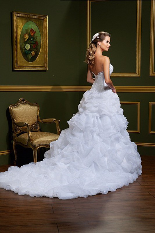 Sweetheart Organza Ruffled Wedding Dress with Removable Skirt