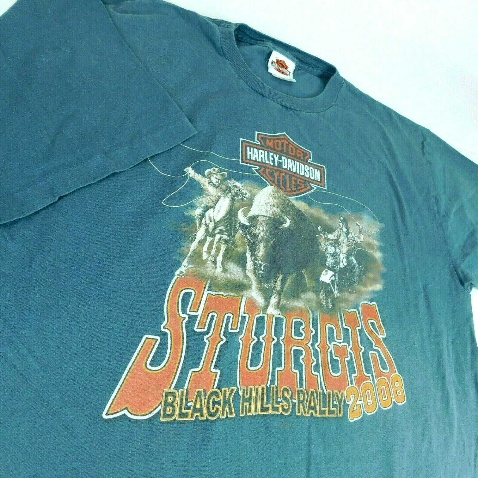 Harley Davidson Sturgis Black Hills Rally 2008 Buffalo Chip Blue T Shirt Sz XL