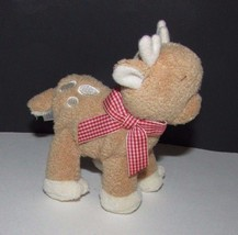 "Baby Gund Plush Aboo reindeer rattle red gingham scarf  4.5""  88886 soft... - $6.92"