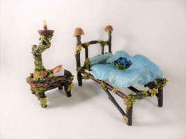 Fairy Bed, Bedside Table, Lamp & Bedding - Faerie, Dollhouse Miniatures,... - $27.85