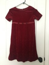 Kids Studio Girls Velour Short Sleeve Dress Sz 7/8 Burgandy - $39.36