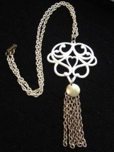 Massive Beautiful Vintage White Enamel Gold Tone Chain Pendant Necklace*... - $37.57