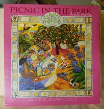 2003 Cynthia Fitting Picnic in Guell Park Barcelona 600 pc Jigsaw Puzzle... - $25.00