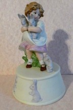 Vintage SCHMID MUSIC BOX 1988 - B SHACKMAN Girl with Easter Bunny Rabbits - $27.72