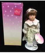 Russ Porcelain Doll of the Month April Diamond Stone Necklace Girl Birthday - $9.89