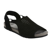 Earth Leather Perforated Sandals - Linden Laveen, Black, 7 M - $45.53