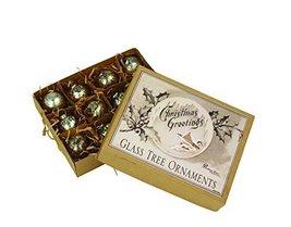 SET OF 12 SILVER MERCURY CHRISTMAS BALL ORNAMENTS IN A KRAFT BOX * Gorgeous Set