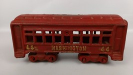 Vintage Cast Iron Train Passenger Car Red Gold ... - $46.05