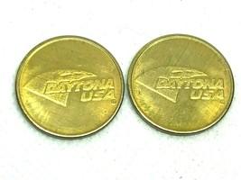 2 Vintage Daytona USA Daytona Beach FL Arcade Token NASCAR Florida Dayto... - $7.82