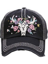 Distressed Country Western Cowgirl Longhorn Flowers Hat Baseball Cap image 4