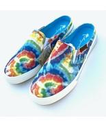 Margaritaville Womens Rainbow Tie Dye Canvas Slip On Shoes Mule Sneakers Flats - $49.98