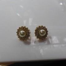 Vintage Faux Pearl & Rhinestone Pierced Earrings - $15.99