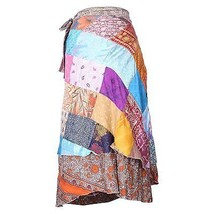 Vintage Silk Sari Recycled Patch work Magic Wrap Around Skirt Reversible... - $18.37