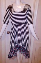 Fashion Gorgeous Striped Floral Ruffle Hi Low Short Sleeve  Dress Size M NWOT  - $14.00