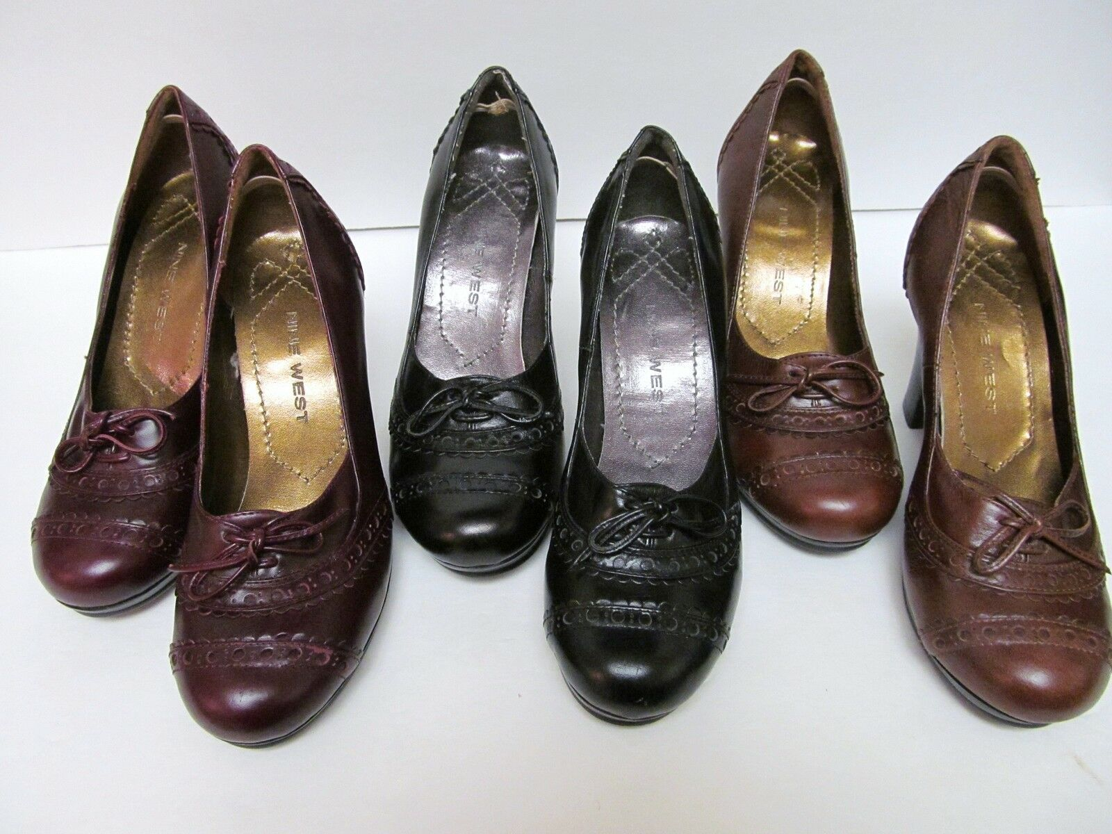 Primary image for NINE WEST Pump Shoes Spectator Look Stacked Heel 3 Colors To Choose From 5 M