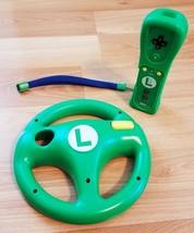 Luigi Themed Nintendo Wii Remote & Matching Mario Kart Steering Racing Wheel - $59.99