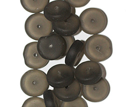 Matte Gray Washer Czech Pressed Glass Beads 4x10mm (pack of 20) - $6.49