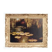 DOLLHOUSE Framed Picture of Lily Pond in Muted Tones Miniature #3 - $7.99