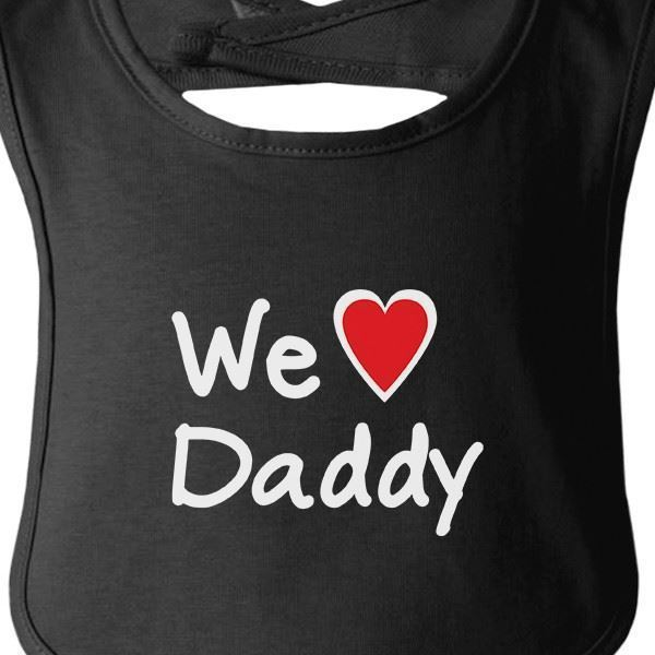 We Love Dad Black Funny Design Baby Bib Cute Baby Shower Gifts