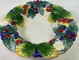 FITZ and FLOYD Fruit Bowl Berries Leaves White Basket Weave Woven Vintag... - $16.82