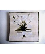 Cambridge Potteries Hand Painted Tile Trivet White Bouquet - $7.87