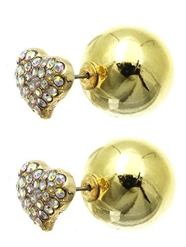 Rhinestone Heart Ball Earrings - Double Sided (AB Stone Goldtone)