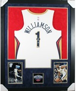 ZION WILLIAMSON FRAMED NEW ORLEANS PELICANS SIGNED NIKE JERSEY FANATICS COA - $1,139.99