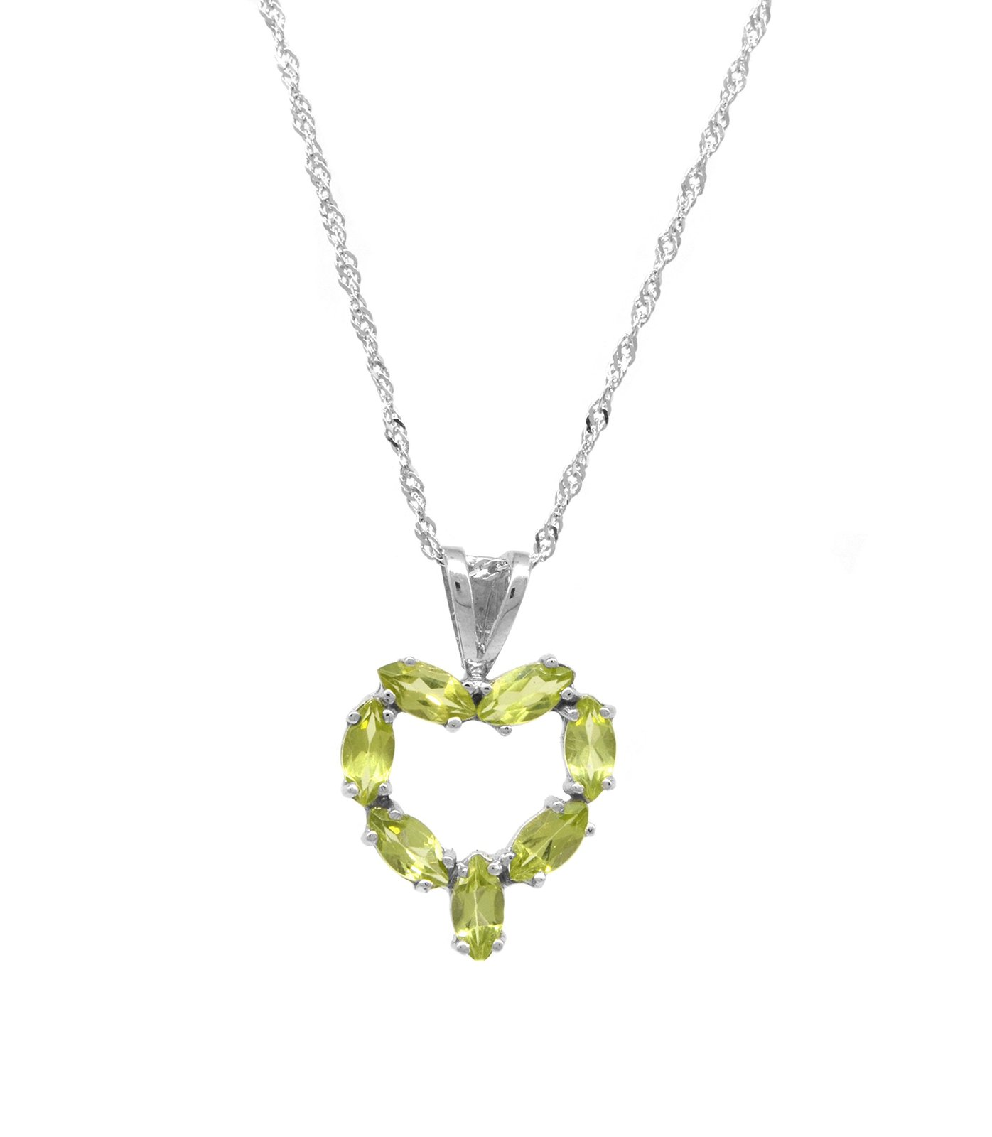 14 K White Gold Genuine Marquise Peridot Heart Pendant with Chain