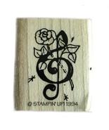 Rubber Wood Stamp Stamping Crafting Stampin Up Music Notes Rose - $9.89