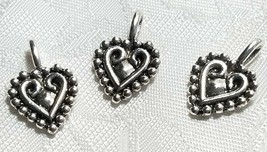 HEART WITH BEADED EDGE FINE PEWTER PENDANT CHARM