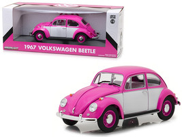 1967 Volkswagen Beetle Right Hand Drive Pink and White 1/18 Diecast Model Car by - $72.79