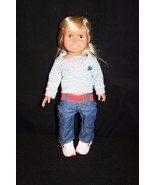 """FCM 1996 18"""" Doll Blonde hair Blue Eyes Jeans Cami & Sweater Tennis Shoes - $34.95"""