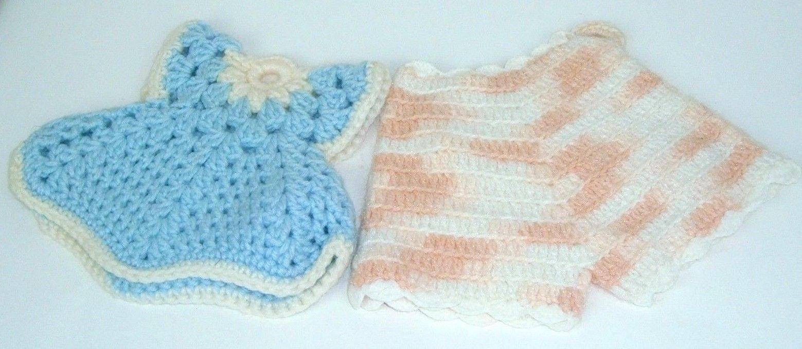 "Vintage Handmade Knit Crochet Pot Holder Hot Pad Trivet ""Child top bottoms"" Folk"