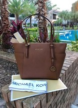 NWT MICHAEL KORS JET SET EW TOP ZIP LEATHER TOTE BAG luggage - $149.59