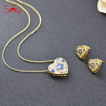 Sunny Jewelry Romantic Heart Jewelry Set For Women Earrings Necklace Pen... - $17.81